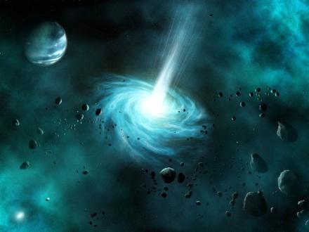 buco nero che emette luce