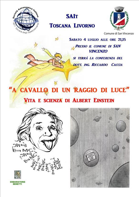 Saremo presenti a San Vincenzo per ricordare l'anniversario della relatività e l'anno della luce